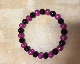 Pink and black stretch  bracelet