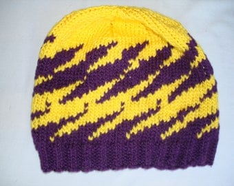 Hand Knit, Adult Beanie/Cap/Ski Hat, Bright Yellow and Purple, in Z stripe pattern