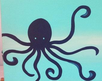 "9 x 12 Acrylic Painting ""Little Octopus"""
