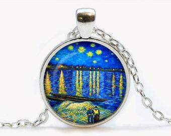 Van Gogh Starry Night Over the Rhone art pendant. Van Gogh Starry Night Necklace. Van Gogh jewelry, moon, stars. Birthday gift