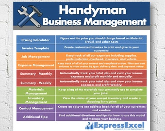 Handyman Repairman Business Management Software + Job Pricing Calculator | Microsoft Excel Spreadsheet | Mac + PC | Instant Download