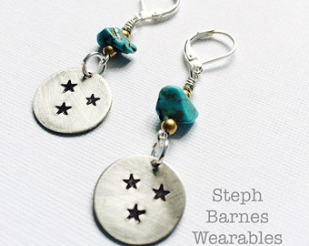 Tennessee earrings in pewter with turquoise accents