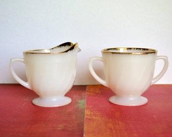 Vintage Fire King Cream & Sugar Set - White Swirl Milk Glass With 22k Gold Rim