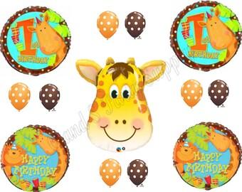 1ST BIRTHDAY GIRAFFE Safari Happy Balloons Decoration Supplies Jungle First