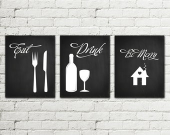 Set of 3 PRINTS Kitchen Printable Poster Illustration Graphic Design Print, Eat Drink be Merry Home Decor wall art fork knife glass Download