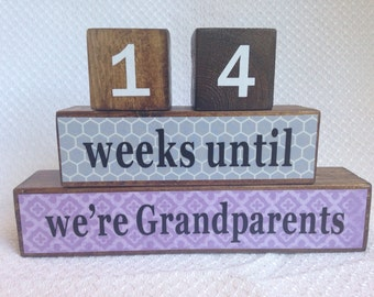Grandparents Countdown Blocks, Age Blocks, Pregnancy Countdown Blocks, Grandparents presents, gift for a new mom