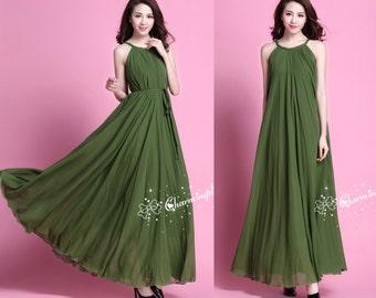 60 Colors Chiffon Grass Green Long Sleeveless Skirt Party Dress Maternity Wedding Sundress Summer Holiday Beach Bridesmaid Dress Skirt J007
