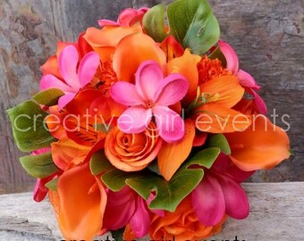 ISLAND DREAM 15 Piece Wedding Bouquet Package ~ Hot Pink Orange ~ Calla Lily Tropical Beach Bouquet ~ Wedding Flower Package~ Bridal Bouquet