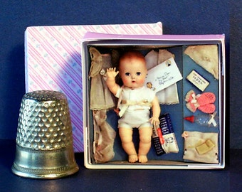 Tiny Tears Layette Doll Box 1950s -  Dollhouse Miniature  1:12 scale - Dollhouse Accessory 1950s retro Dollhouse girl toy baby nursery pink