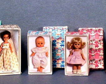Jill, Ginny and Ginnette  Doll Box Set -  Dollhouse Miniature - 1:12 scale - Set of Three boxes -  1950s retro Dollhouse girl nursery toy