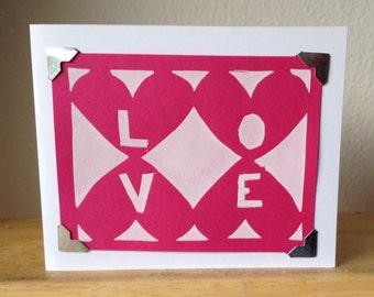 "Graphic ""love"" print - silkscreen greeting card"
