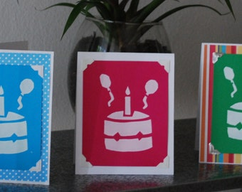 Save 2 dollars - Pack of 3- Birthday Cake Greeting Card