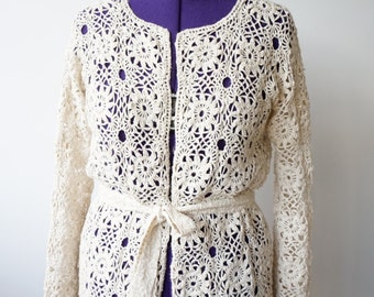 Ivory Crochet Cotton and Linen Women Summer Jacket / Cardigan / Floral Lace