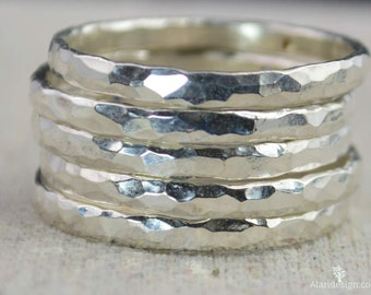 Super Thick Pure Silver Stackable Ring(s), Stack Rings, Stacking Rings, Made to Order, Hammered Silver Ring