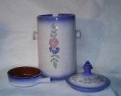 Vintage Crock Jar with Stacking Bowls