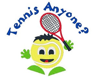 Tennis Anyone Machine Embroidery Design, Tennis Racket Embroidery, filled design, 4X4 5X7 6X10, Instant download