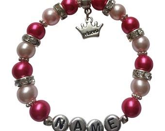 Girls Stylish Personalised NAME Bracelet with Rhinestones