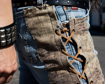 Faux brown Snakeskin with side lace up on a pair of Vintage jeans