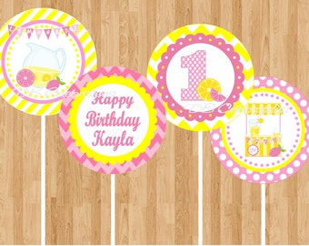 Pink Lemonade 2 Cucpake Toppers - Printable Digital Birthday Party Decorations party circles