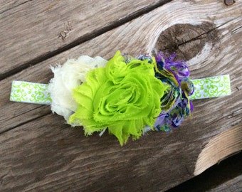 Lime/White/Purple Shabby Floral Headband