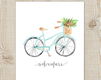 Vintage Bicycle Adventure Floral Bike Watercolor Instant Download Printable Print