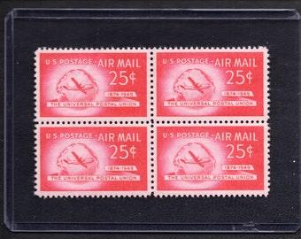 1949 Universal Postal Union Twenty-Five Cent Airmail Vintage Postage Stamps - Four Unused Stamps