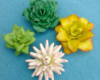 Succulent Magnet, Faux Fake Cactus Flower, Green, Yellow, and White, Botanical Sculpture, Kitchen Decoration, Party or Shower Favor