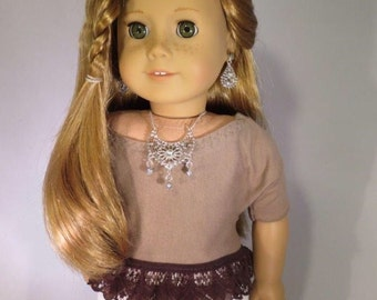 Fits American Girl Doll, crop top, lace tshirt, 18 inch dolls