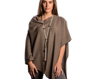Taupe Cashmere 100% Poncho