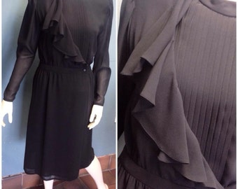 Amazing black 1970's/80's Oliver James designer dress