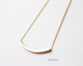 Curved bar pendant necklace in gold, Bridesmaid necklace, Everyday necklace, Wedding necklace