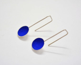 Sterling silver blue earrings, dangle earrings, minimal earrings, simple earrings,cup earrings