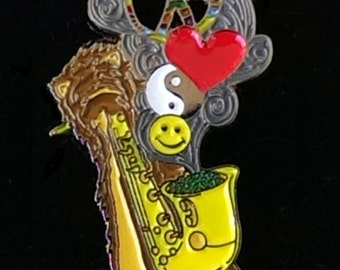 Saxy PLUR Spirit Hood Griz & Big Gigantic Pin