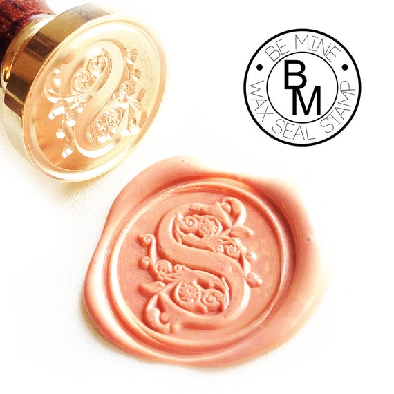 Wax seal stamp letter initial classic font by beminewaxseal for Letter seal stamp