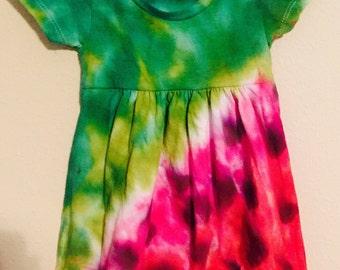 Girls Tie Dye Dress (Watermelon)