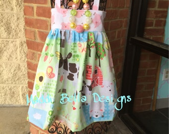 Cows in barnyard with pink pigs birthday party dress farm 12-18m 2t 3t 4t
