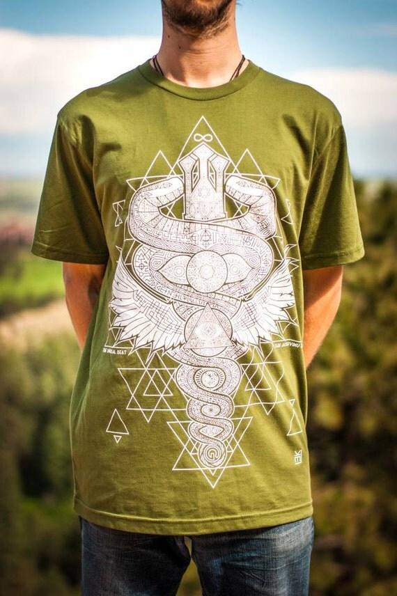 Snakes T-Shirt—Organic USA Made, Kundalini T-Shirt, Caduceus T-Shirt, Chakra Shirt, Spiral T-shirt, Trippy T-Shirt, Psychedelic Snake, Mens