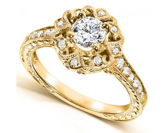 Antique-Style Diamond Engagement Ring 1/2 carat (ctw) in 14k Yellow Gold