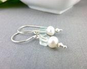 RESERVED FOR ANNE - Aquamarine & Pearl Earrings, Garden Wedding, Beach Wedding, Island Wedding, Chakra Energy Jewelry