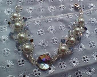 Swarovski Crystal Bridal Bracelet Romantic Beautiful Pearls
