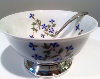 Bernardaud Limoges France Nicole China and Silver Plate Footed Sauce Bowl with Ladle