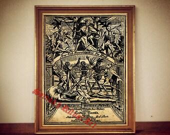 DEATH DANCE by Salomon van Rusting danse macabre occult antique print illustration poster vintage home decor alchemy magick skeleton /106