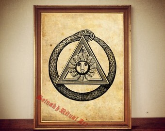 Sun, triangle and ouroboros print, All Seeing Eye poster, antique esoteric print, occult illustration, magic poster, vintage home decor #97