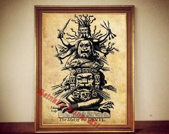 Formosan evil spirit George Psalmanaazaar 1712  print illustration poster   occult antique vintage home decor  127