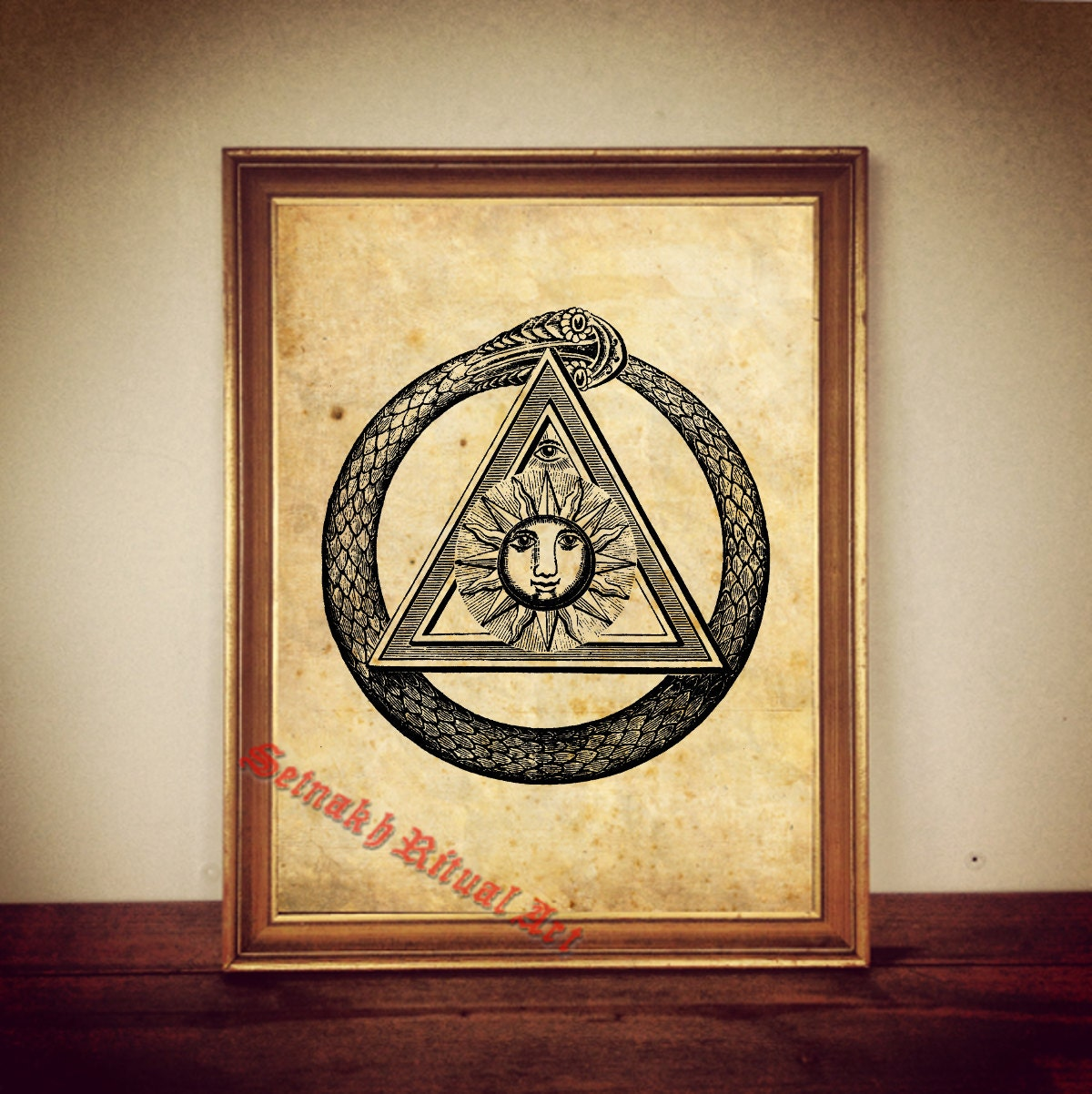 sun triangle ouroboros antique print illustration poster