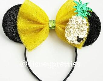 Dole Pineapple Whip Mickey Ears. Tiki Room Ears. Dole Pineapple. Dole whip headband. Mickey ears. Minnie ears.