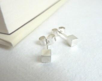 Tiny Cube Stud Earring