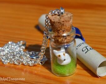 Necklace, Arctic Fox, Glass Bottle, Vial Pendant, Handmade