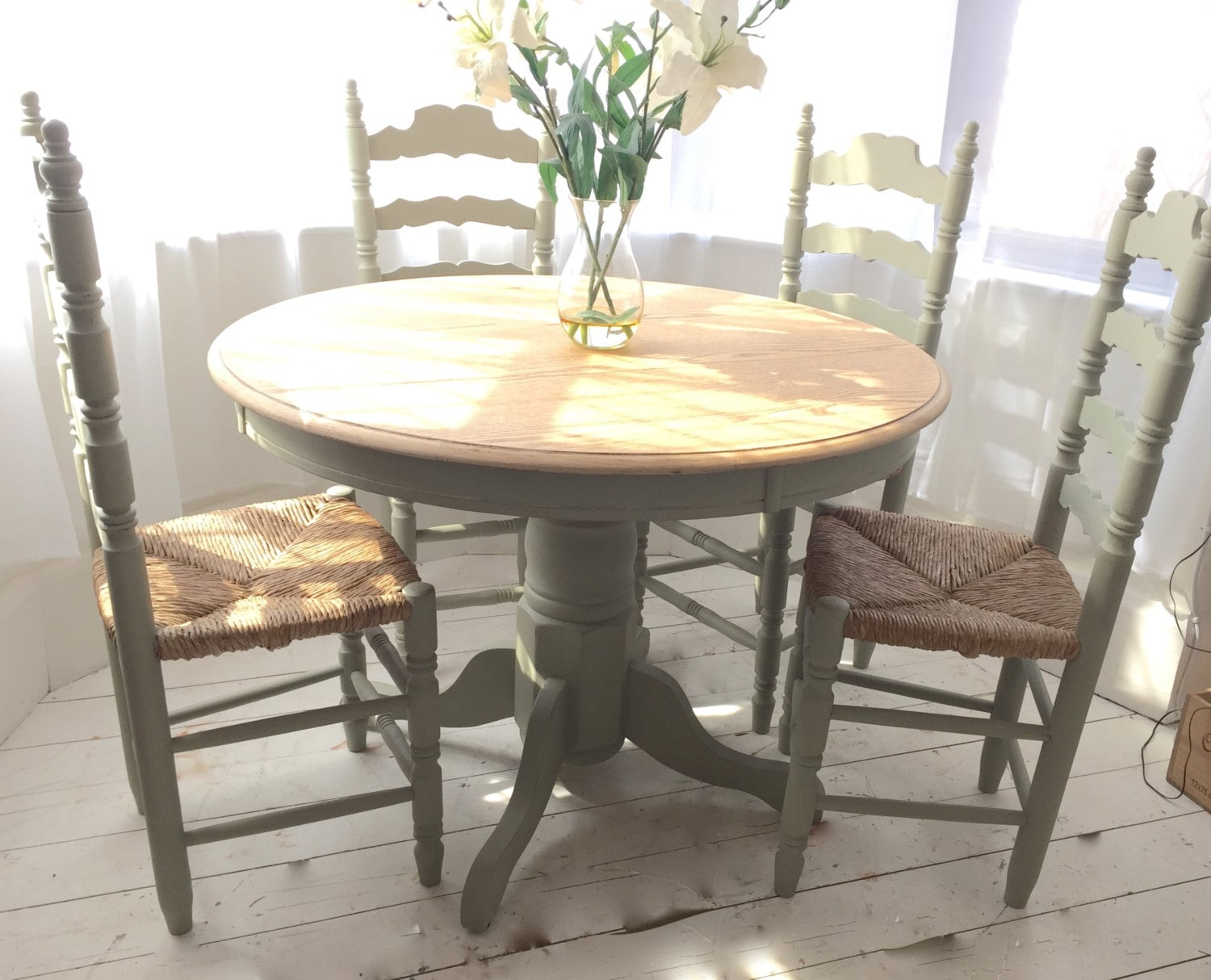Sage Green French Country Oak Dining Set with Vintage Rush Seat Chairs u2013 Haute Juice