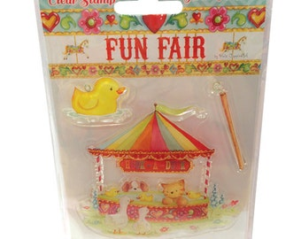 SALE - Clear Stamp Set -Fun Fair Helz Cuppleditch Collection - Hook-a-Duck Stamp - Fairground Carnival